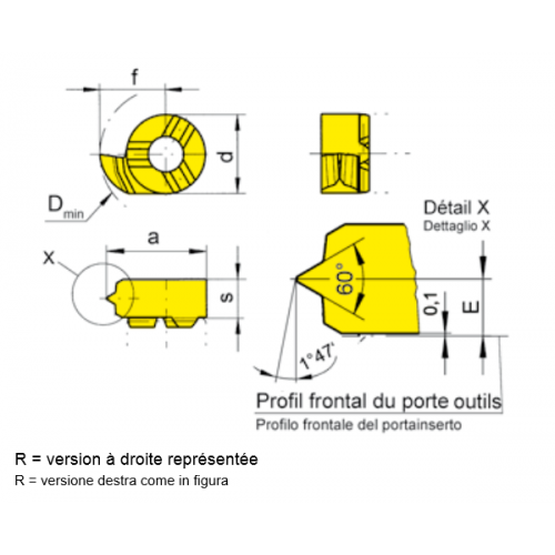 OUTILS HORN FILETAGE NPT ET PG PROFIL PLEIN DE 14 A 27 FILETS  TYPE R108